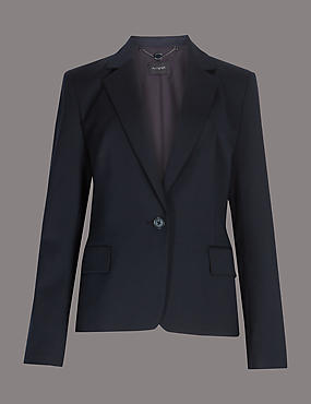 Wool Blend Single Breasted Blazer