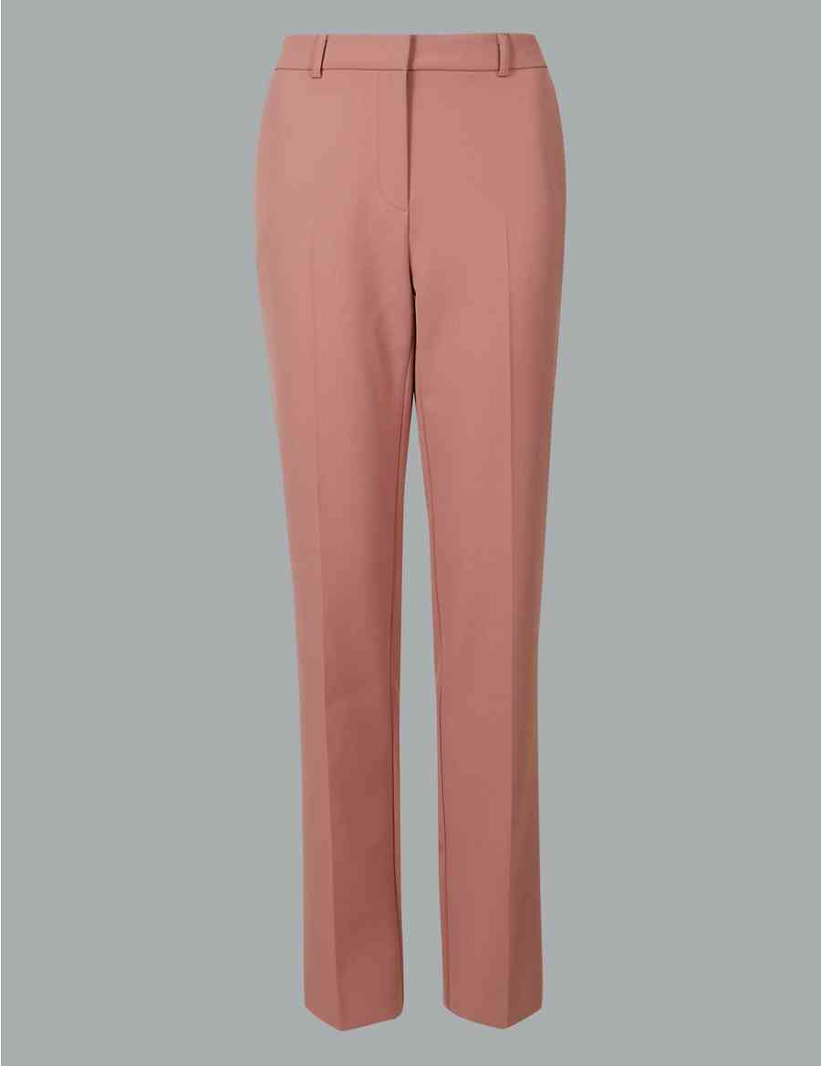44793bbb2d729 Straight Leg Ankle Grazer Trousers with Wool