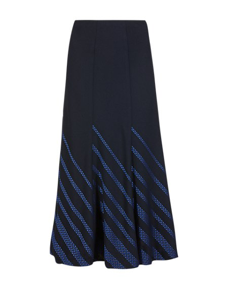 Satin Striped A-Line Skirt