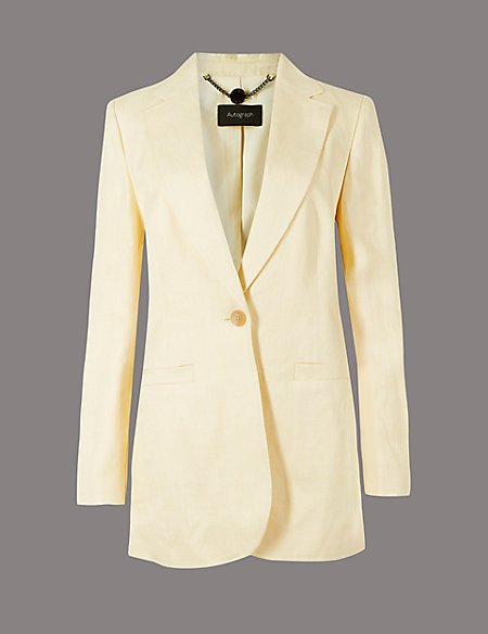 Pure Linen Single Breasted Blazer