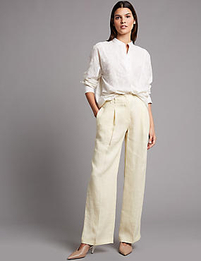 Pure Linen Wide Leg Trousers