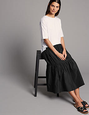 Taffeta Drop Waist Full Midi Skirt
