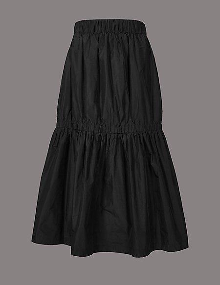 Taffeta Drop Waist Full Midi Skirt