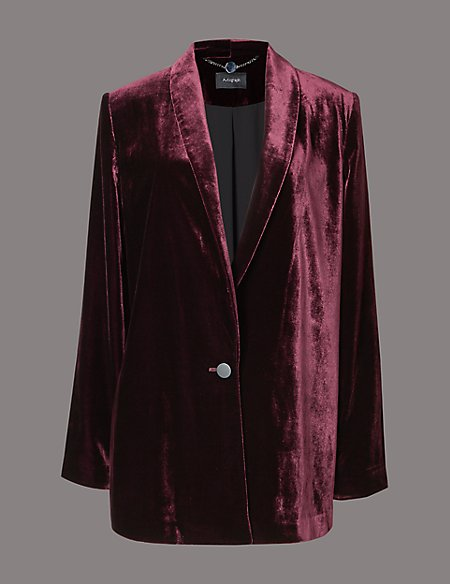 Velvet Single Button Blazer