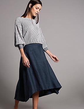 Pure Linen Asymmetric A-Line Midi Skirt
