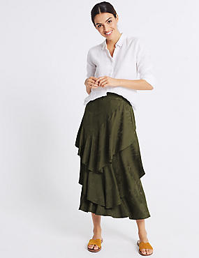 Printed Ruffle Front Pencil Midi Skirt