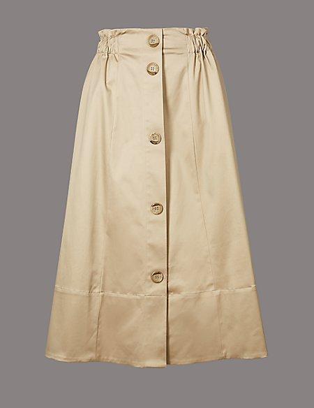 Supima Cotton Rich A-Line Midi Skirt