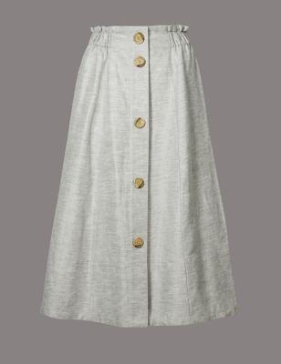 Linen Blend Textured A Line Midi Skirt by Marks & Spencer
