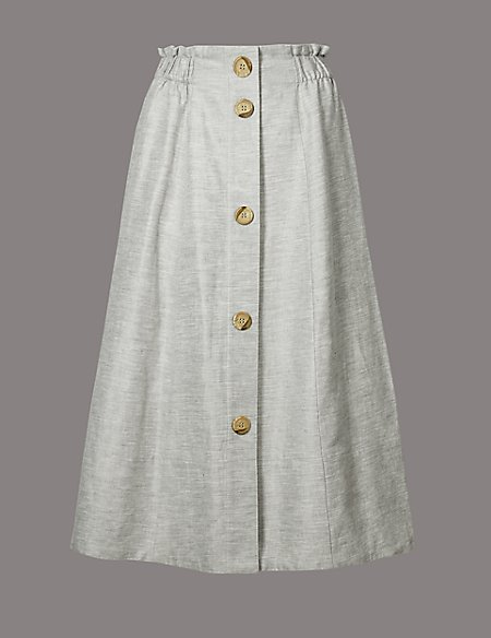 Linen Blend Textured A-Line Midi skirt
