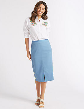 Front Split Pencil Midi Skirt