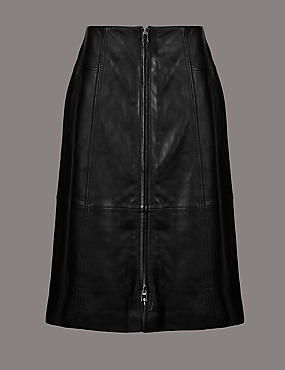 Leather A-Line Midi Skirt