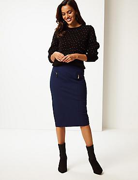Cotton Rich Zip Detail Skirt