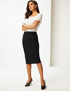 Cotton Rich Zip Detail Skirt