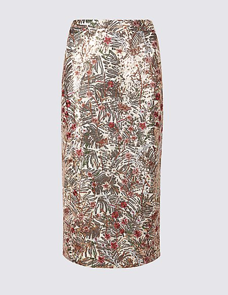 Floral Sequin Pencil Skirt