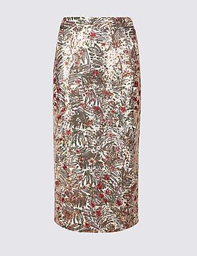 Floral Print Pencil Midi Skirt