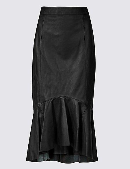 Leather Fishtail Midi Skirt