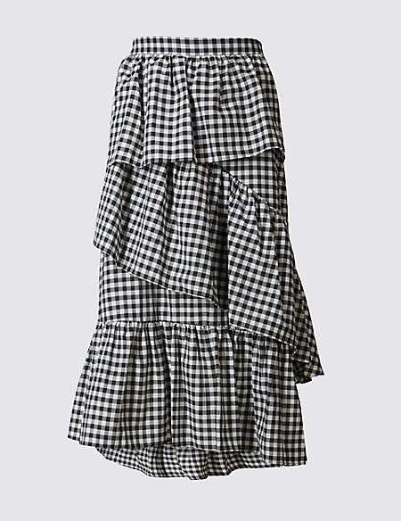 Cotton Rich Gingham Ruffle A-Line Midi Skirt
