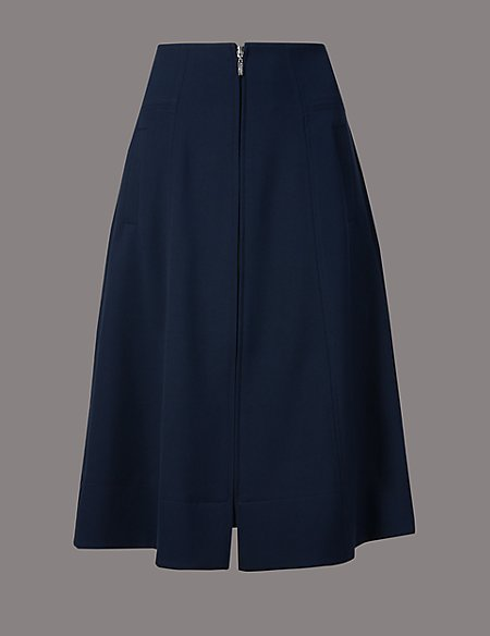 Zipped Front A-Line Midi Skirt