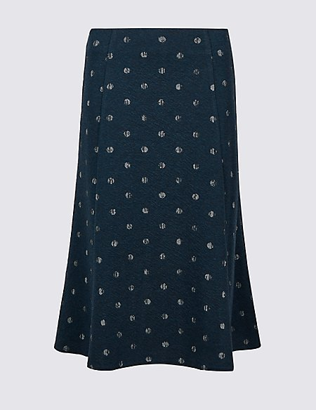 Spotted Jersey A-Line Midi Skirt