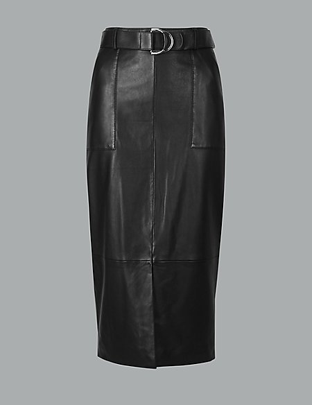 Leather Belted Pencil Skirt
