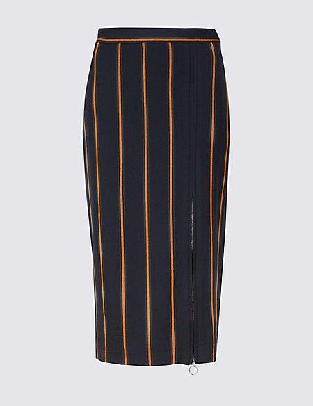 Striped Pencil Midi Skirt