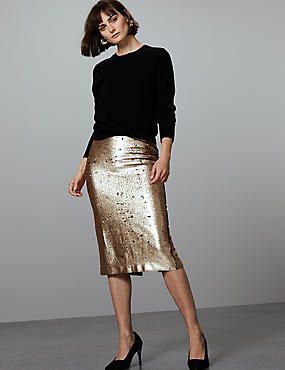 Reversible Sequin Midi Skirt