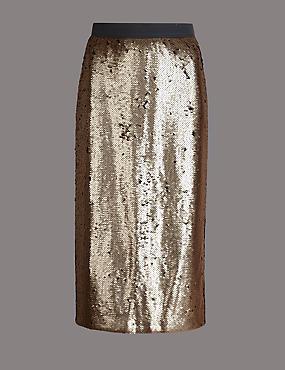 Reversible Sequin Midi Skirt
