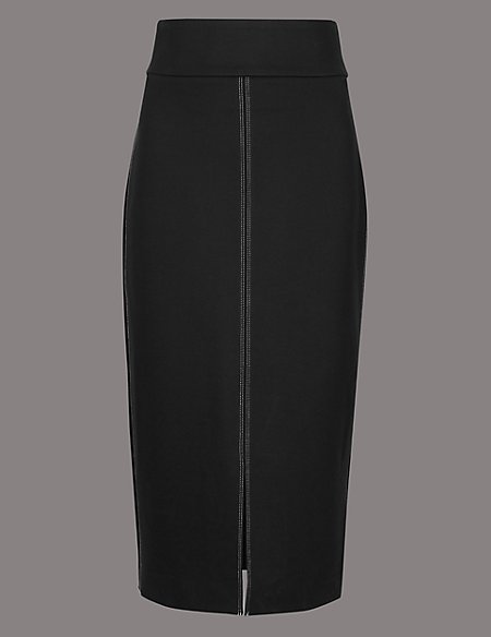Topstitch Detail Pencil Midi Skirt
