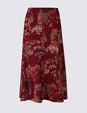 Floral Print Flocked A-Line Midi Skirt