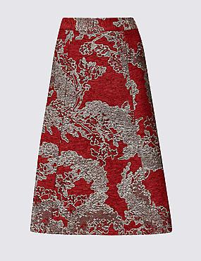 Jacquard Print Skater Midi Skirt