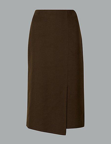 Wrap Midi Skirt with Wool