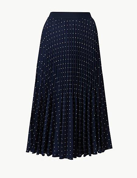 Polka Dot Pleated Midi Skirt