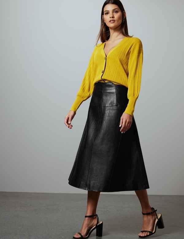 3679c69e459 Leather Fit   Flare Midi Skirt