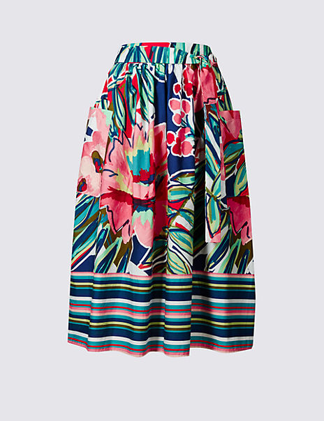 Pure Cotton Printed Tie Waist Midi Skirt