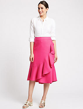 Linen Blend Pencil Midi Skirt