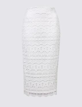 Lace Pencil Midi Skirt