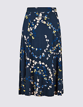 Printed Jersey A-Line Midi Skirt