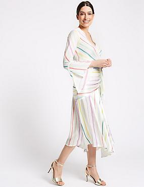 Printed Satin Pencil Midi Skirt