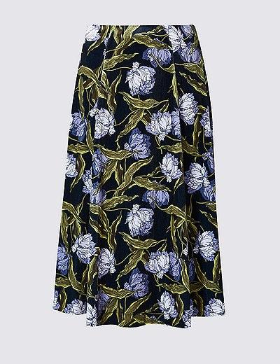 floral print a line midi skirt