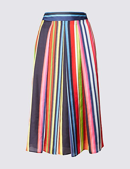 Striped A-Line Midi Skirt