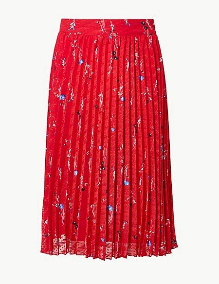 Floral Print Pleated Fit & Flare Midi Skirt
