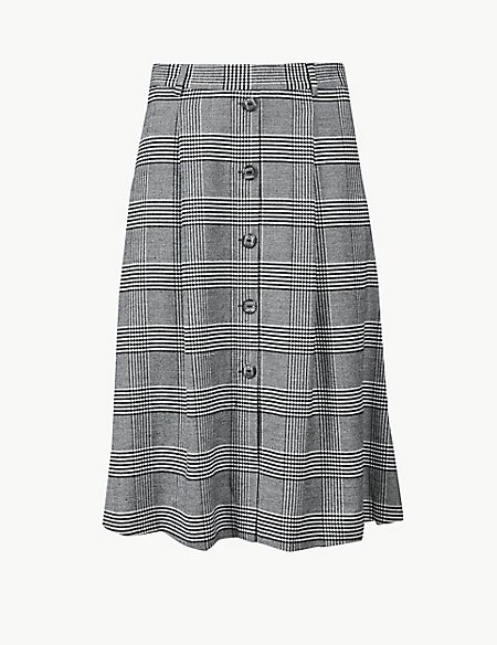 Checked A-Line Midi Skirt