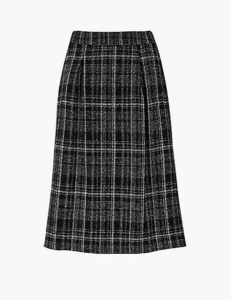 Textured A-Line Midi Skirt