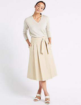 Cotton Rich Belted Full Midi Skirt