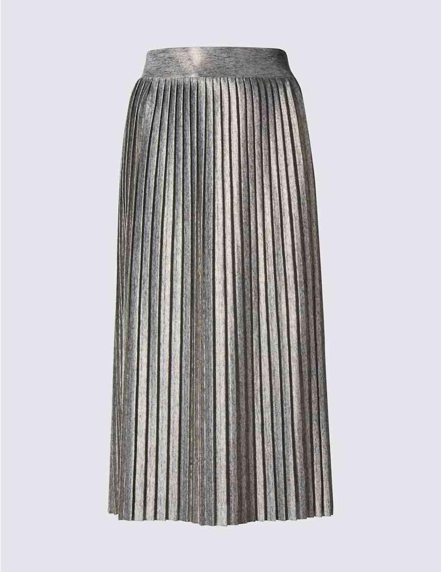 Metallic Pleated Midi Skirt Limited Edition M S