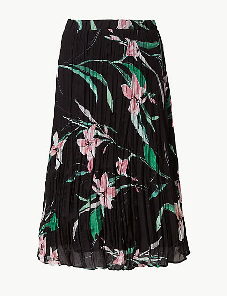 Floral Print Fit & Flare Skirt