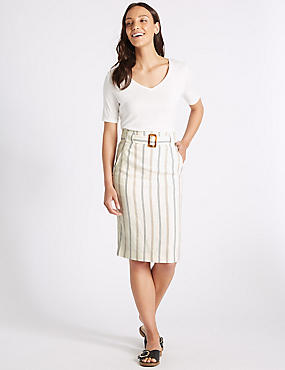 Linen Blend Striped Pencil Skirt