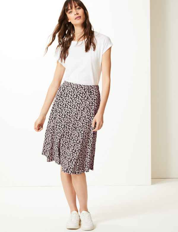 30555e612c335 Floral Print Jersey Pleated Midi Skirt