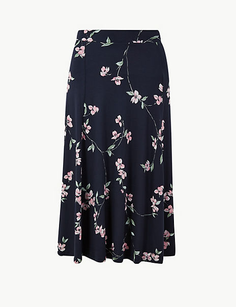 Floral Print Jersey Fit & Flare Midi Skirt