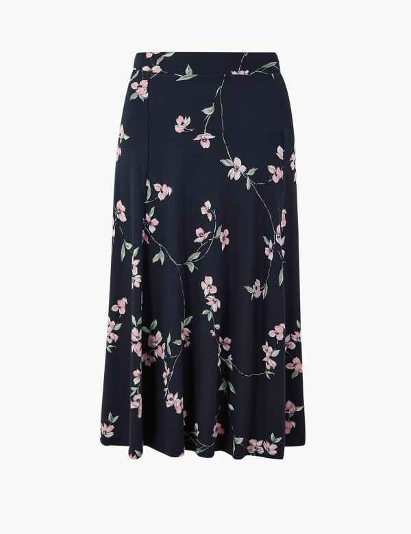 598fe5653ba Floral Print Jersey Fit   Flare Midi Skirt. New. M S Collection